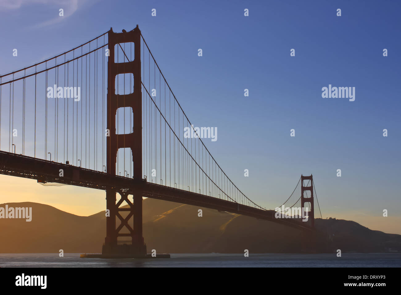 Golden Gate Bridge am Abend - Stock Image