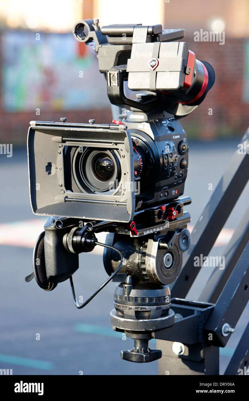Canon Eos C Movie Tv Camera On Boom Stand