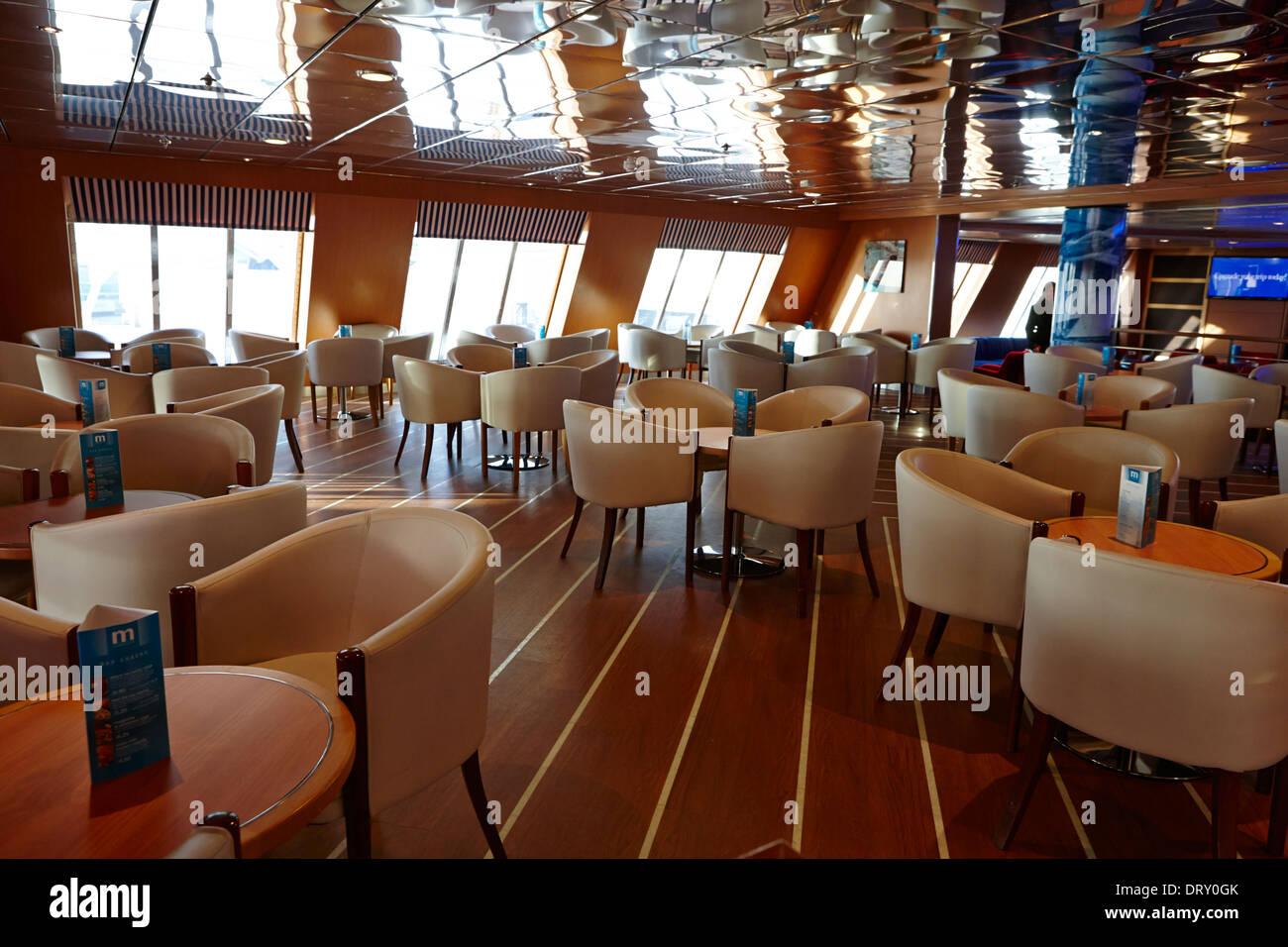 empty lounge bar restaurant on modern ferry - Stock Image