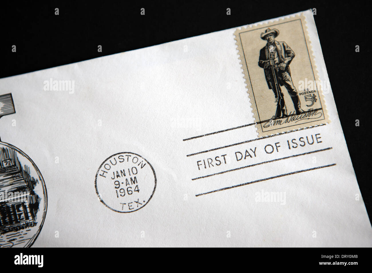 First Day issue of a Sam Houston stamp on an envelope dated January 10 1964 from Houston Texas USA - Stock Image