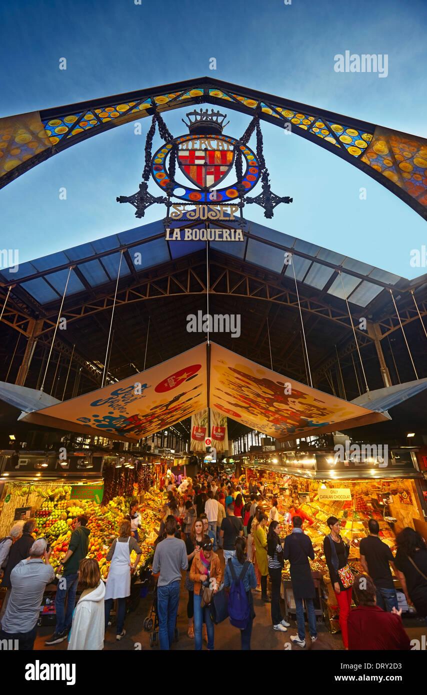 La Boqueria Market (Mercat de Sant Josep de la Boquería) at La Rambla. Barcelona. Catalonia. Spain - Stock Image