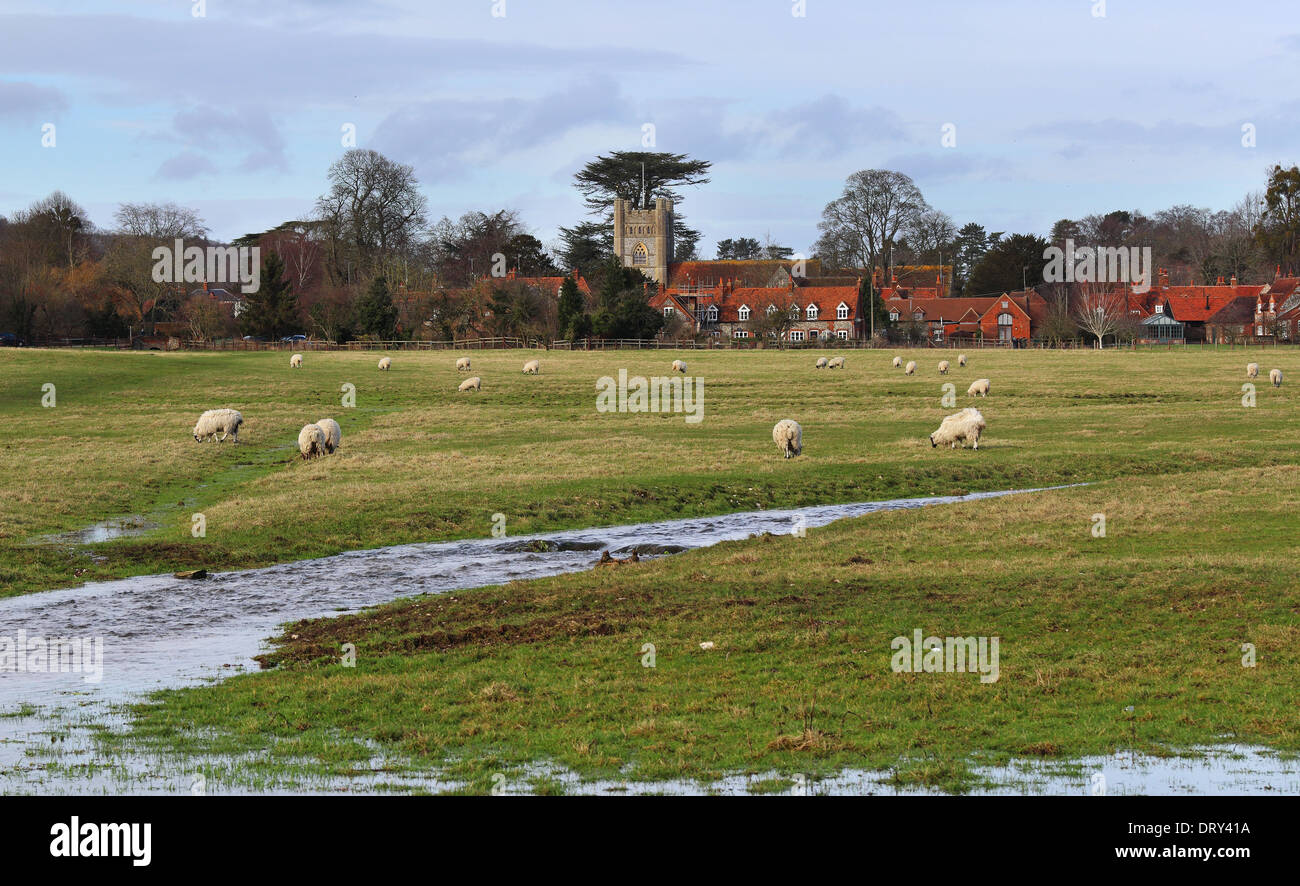 A Rural Landscape in the Chiltern Hills in England with grazing sheep and the village of Hambleden - Stock Image