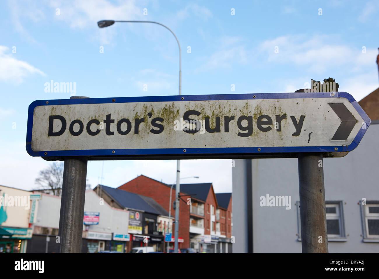 sign for local doctors surgery dunmurry belfast uk - Stock Image