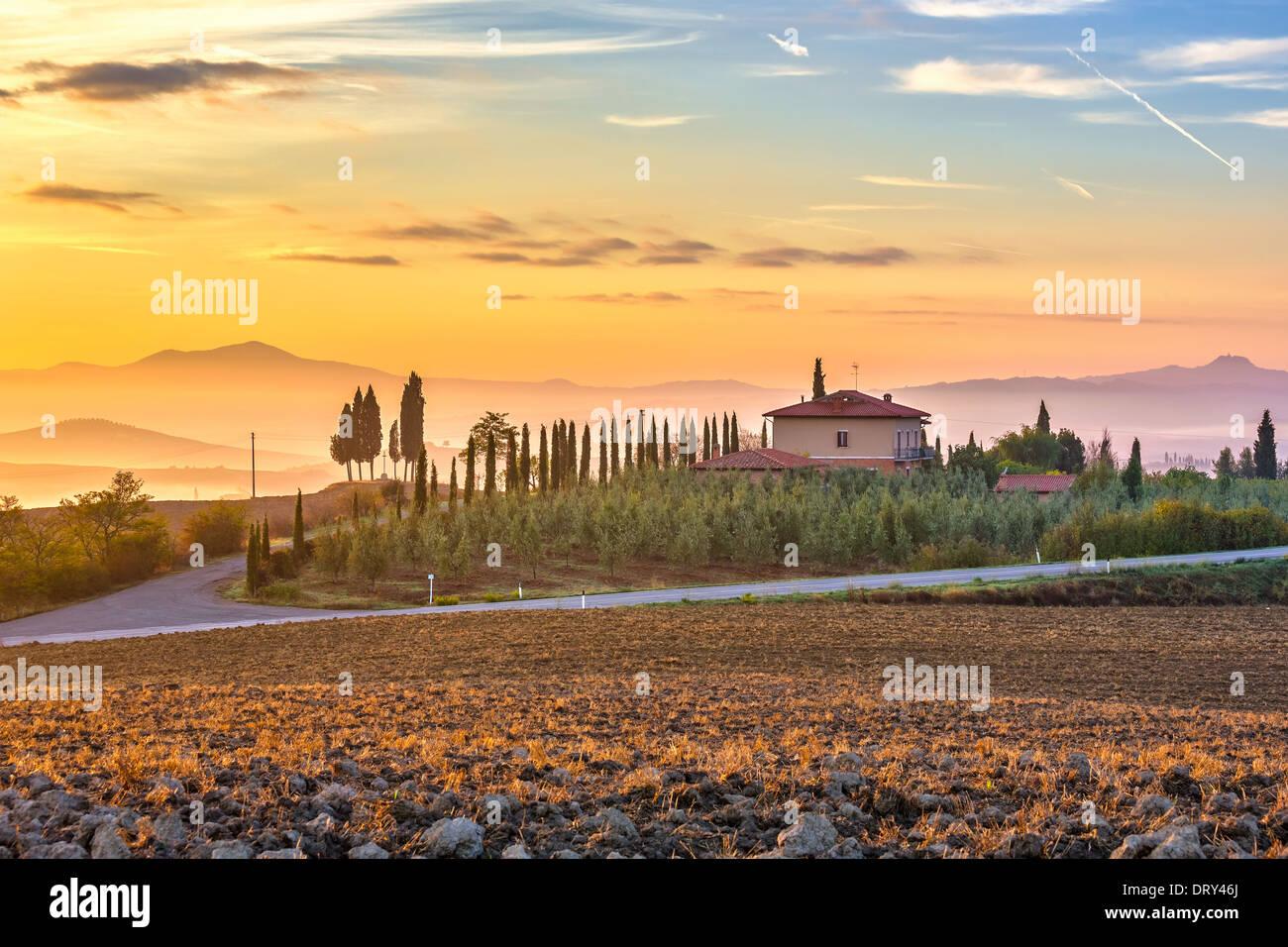 Tuscany landscape at sunrise - Stock Image