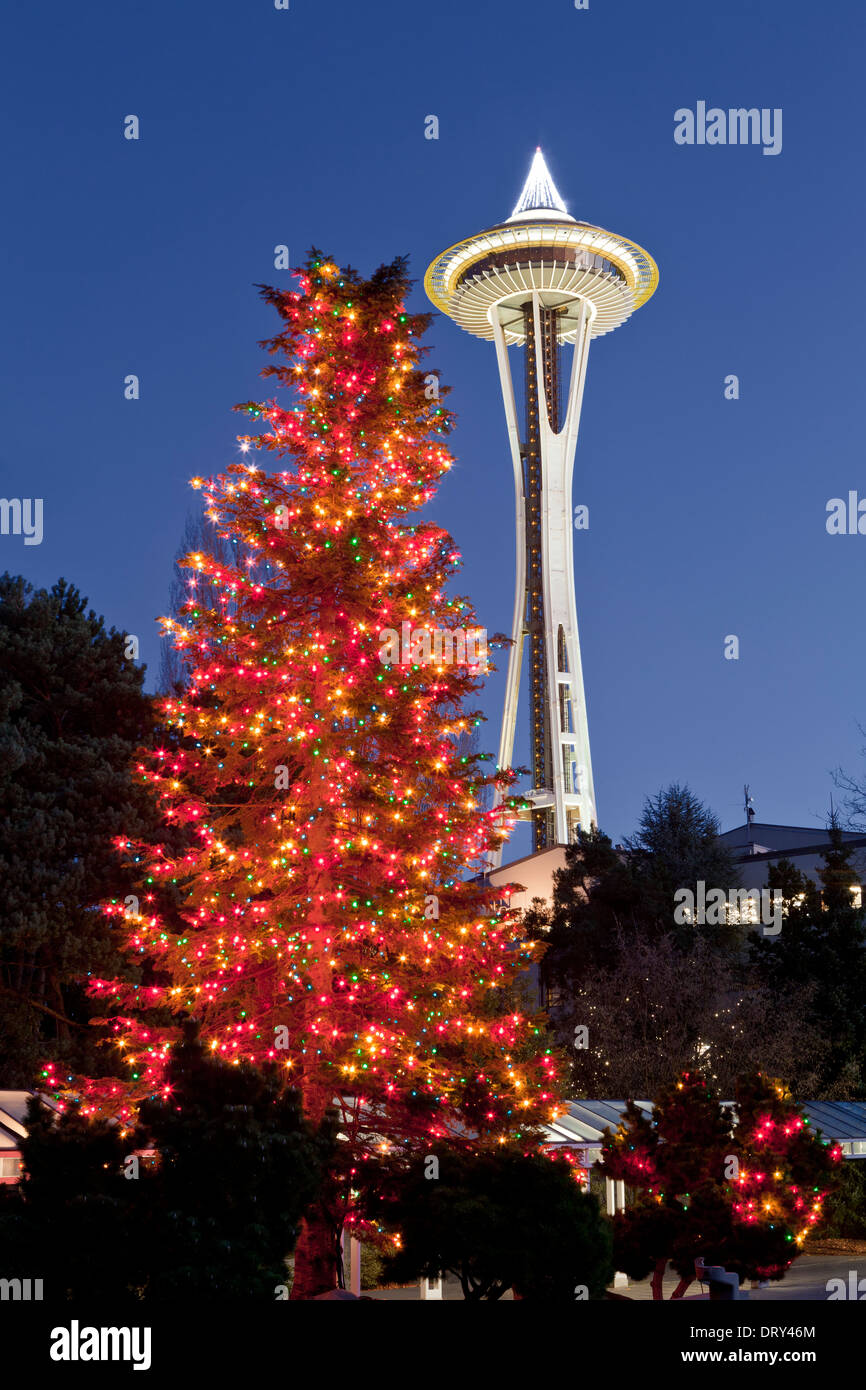 washington christmas tree and space needle in the seattle center stock image