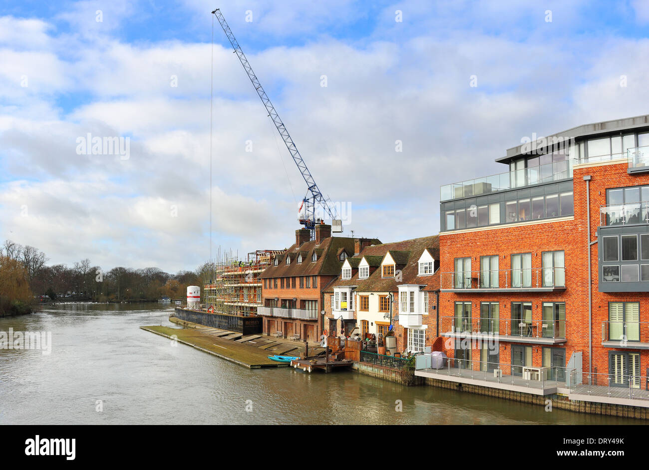 Construction work on the banks of the river Thames in Eton - Windsor - Stock Image