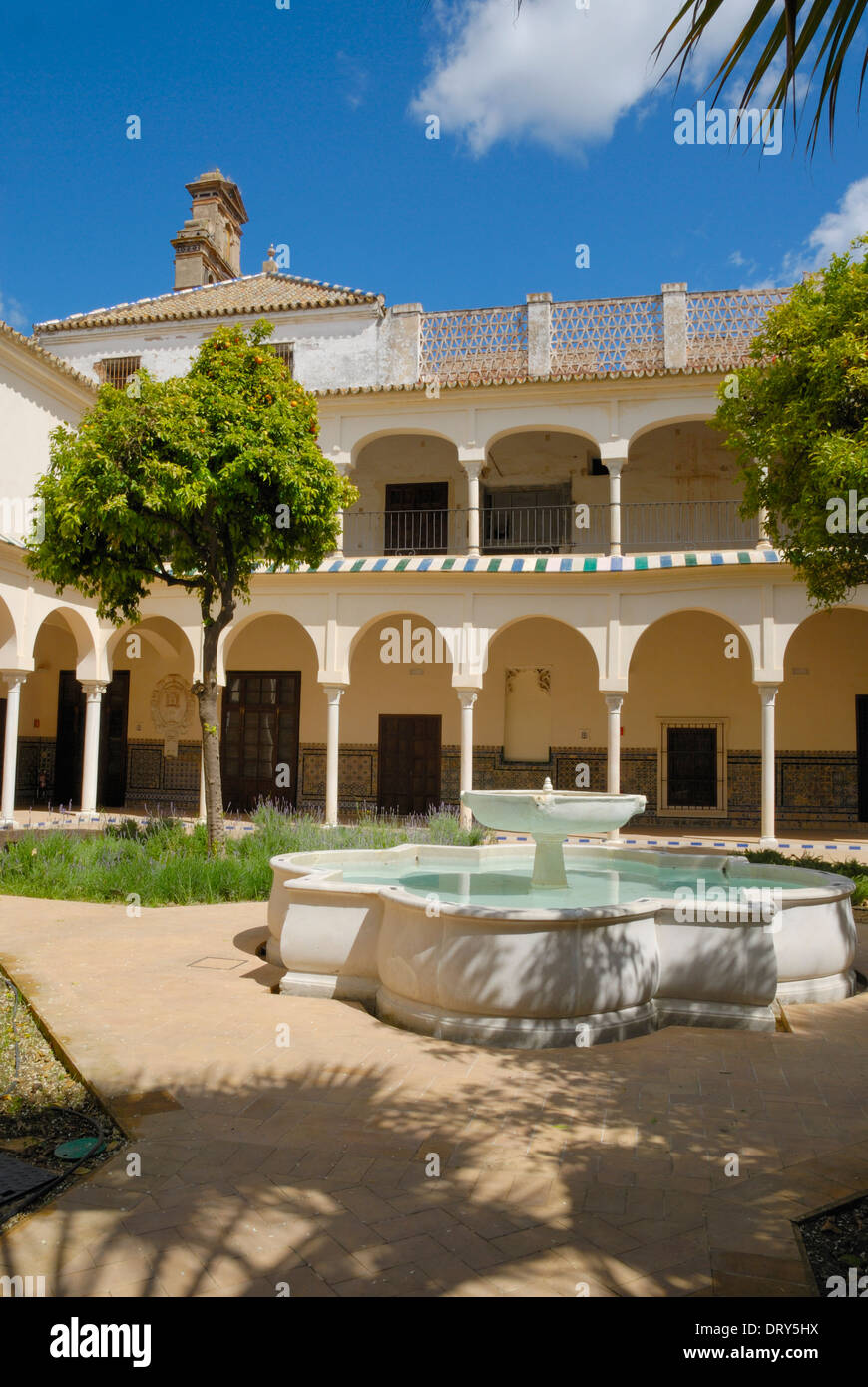 Patio of cloister convent in Seville, Andalusia, Spain - Stock Image