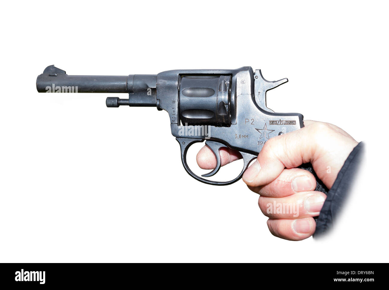 Pistol Nagant revolver in hand gangster- is isolated on the