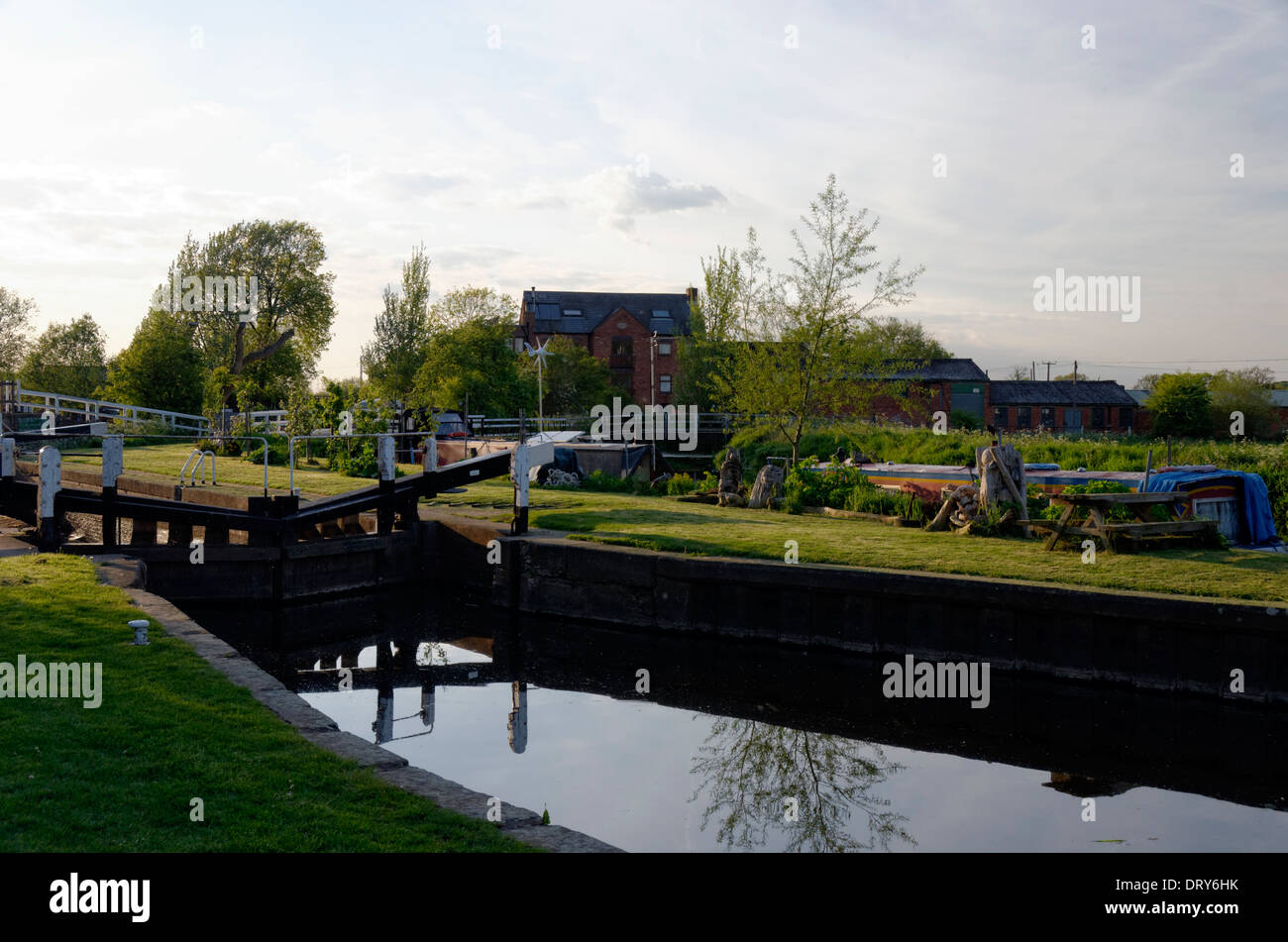 Lock Gates at Sileby, Leicestershire on the River Soar - Stock Image