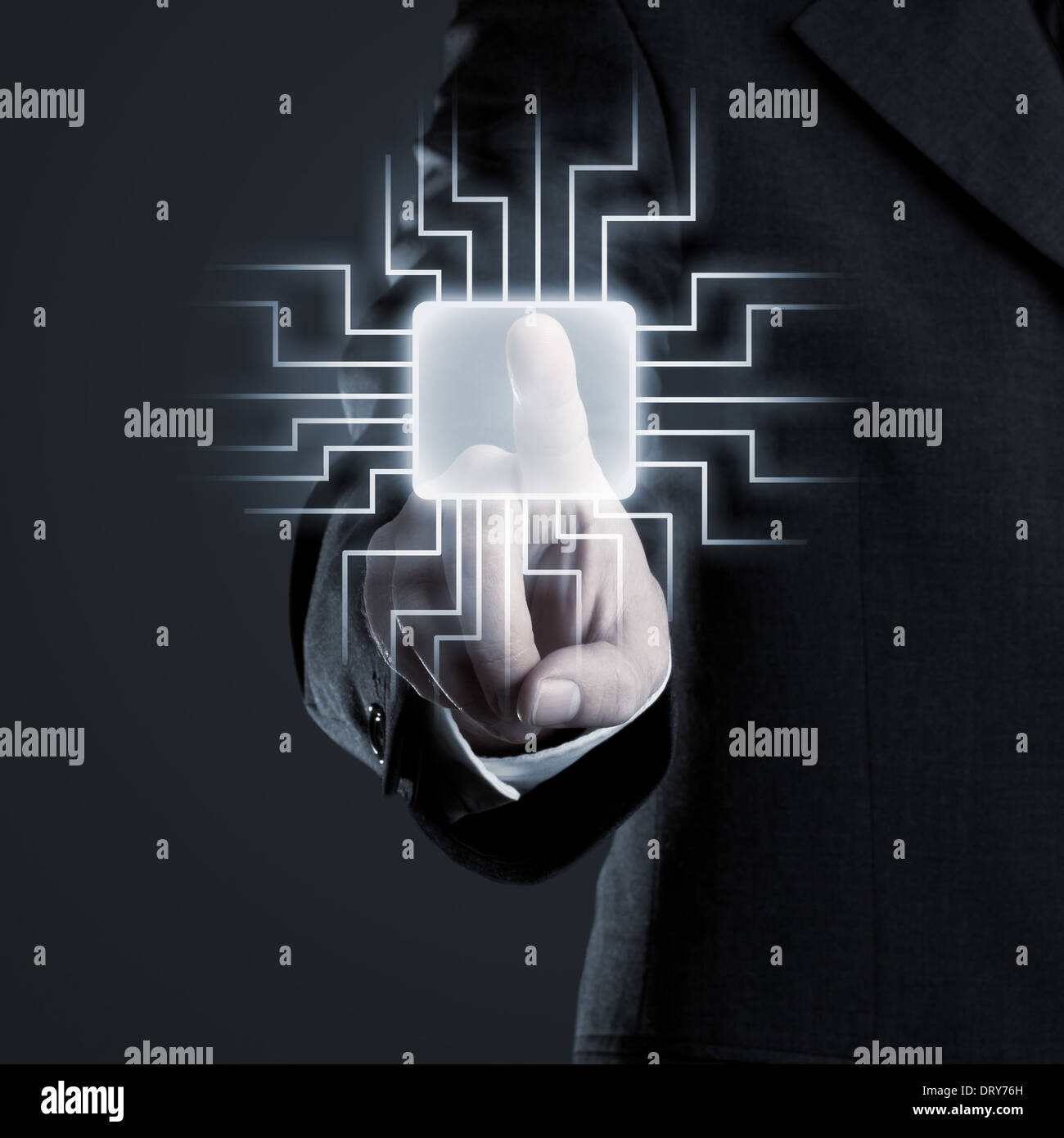 Businessman navigating network on futuristic touchscreen - Stock Image
