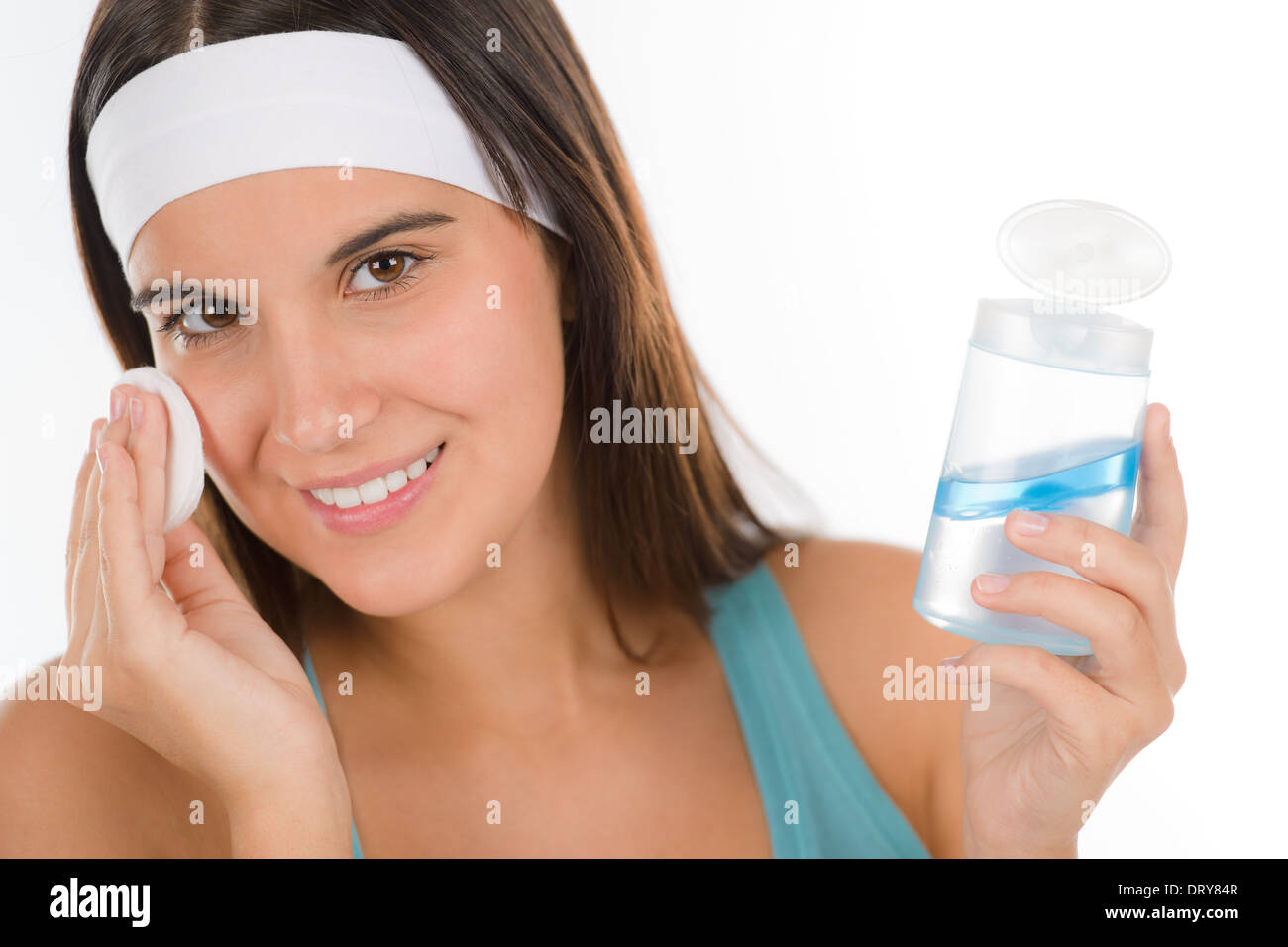 Teenager problem skin care - woman cleanse - Stock Image
