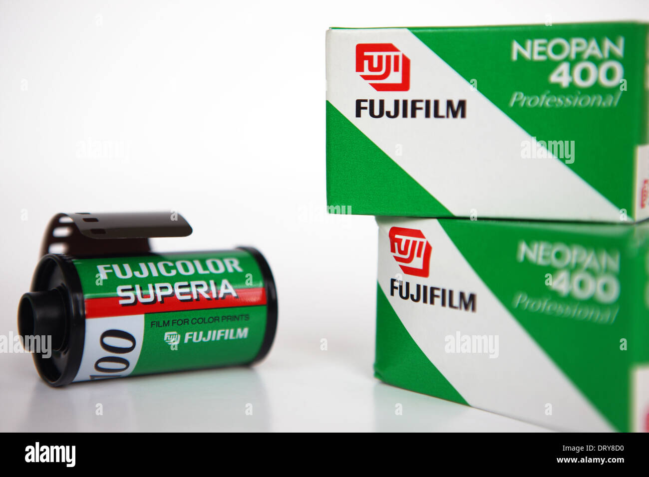 Rolls of 35mm film by Fuji - Stock Image