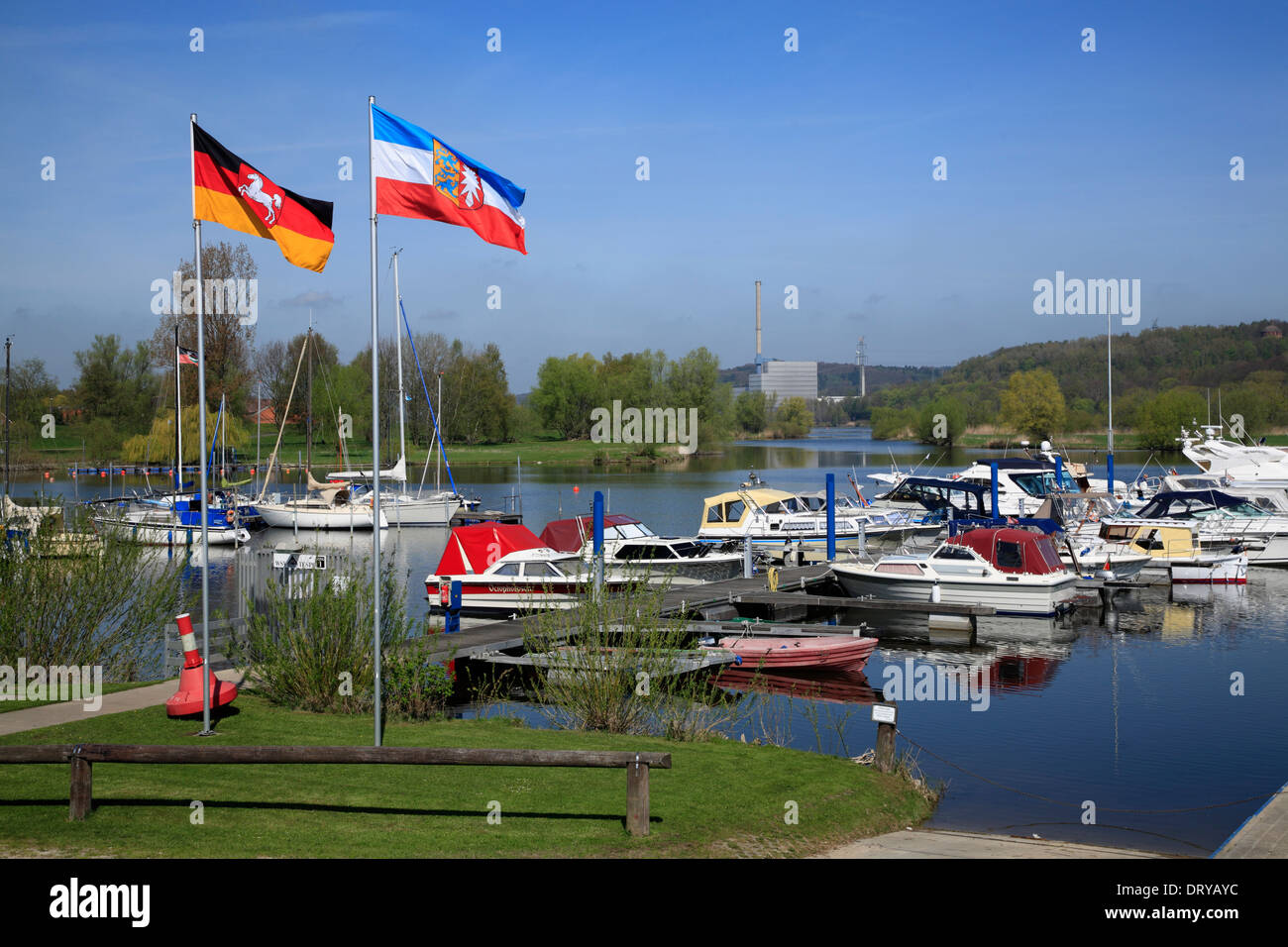Elbe river cycle route, harbor in Tespe, Lower Saxony, Germany, Europe - Stock Image