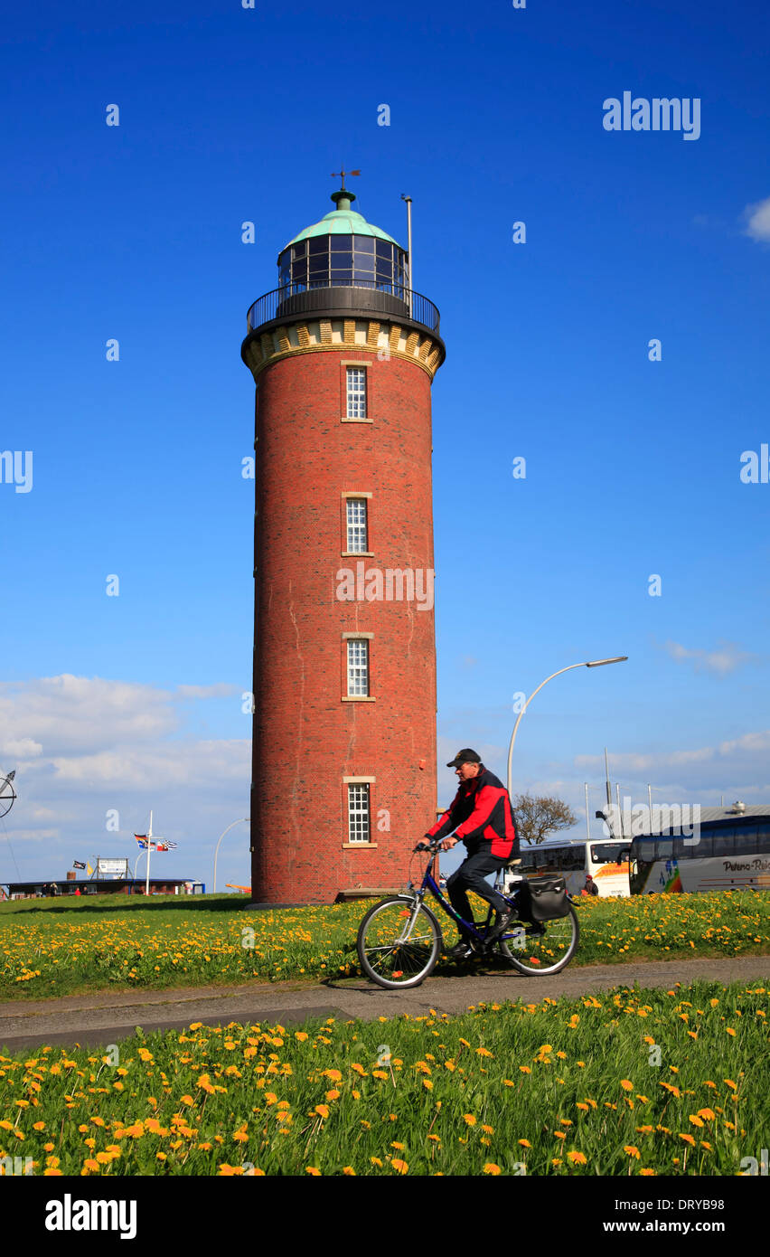 Lighthouse  in Cuxhaven, Elbe river cycle route, Lower Saxony, Germany, Europe - Stock Image