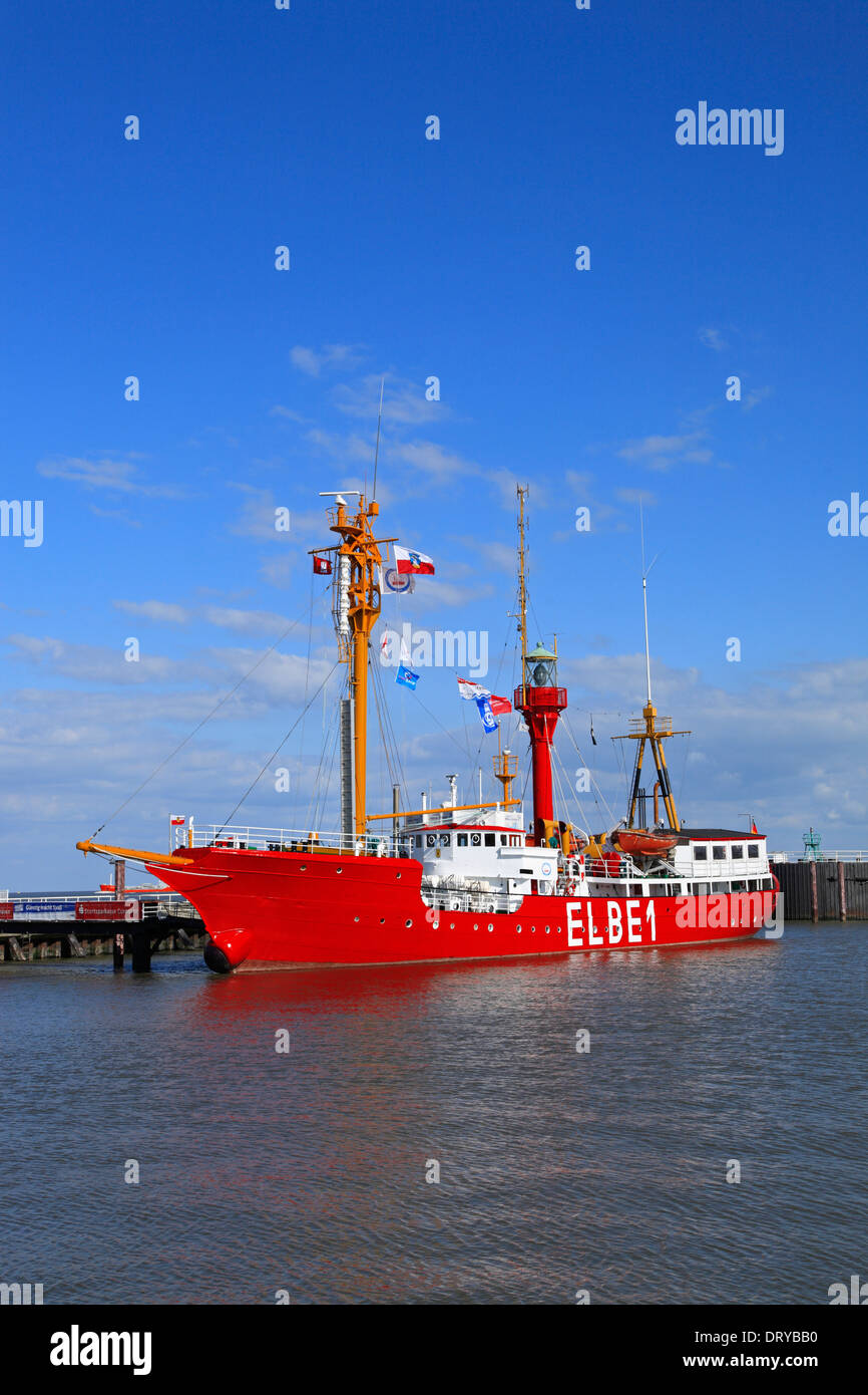 Historic light vessel ELBE 1 in the harbor of Cuxhaven, North Sea, Lower Saxony, Germany, Europe - Stock Image