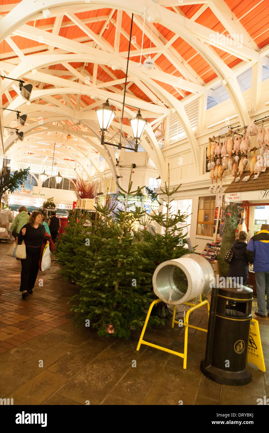 People shopping in Oxford's Covered Market, Christmas trees stand ready to be bought. - Stock Image