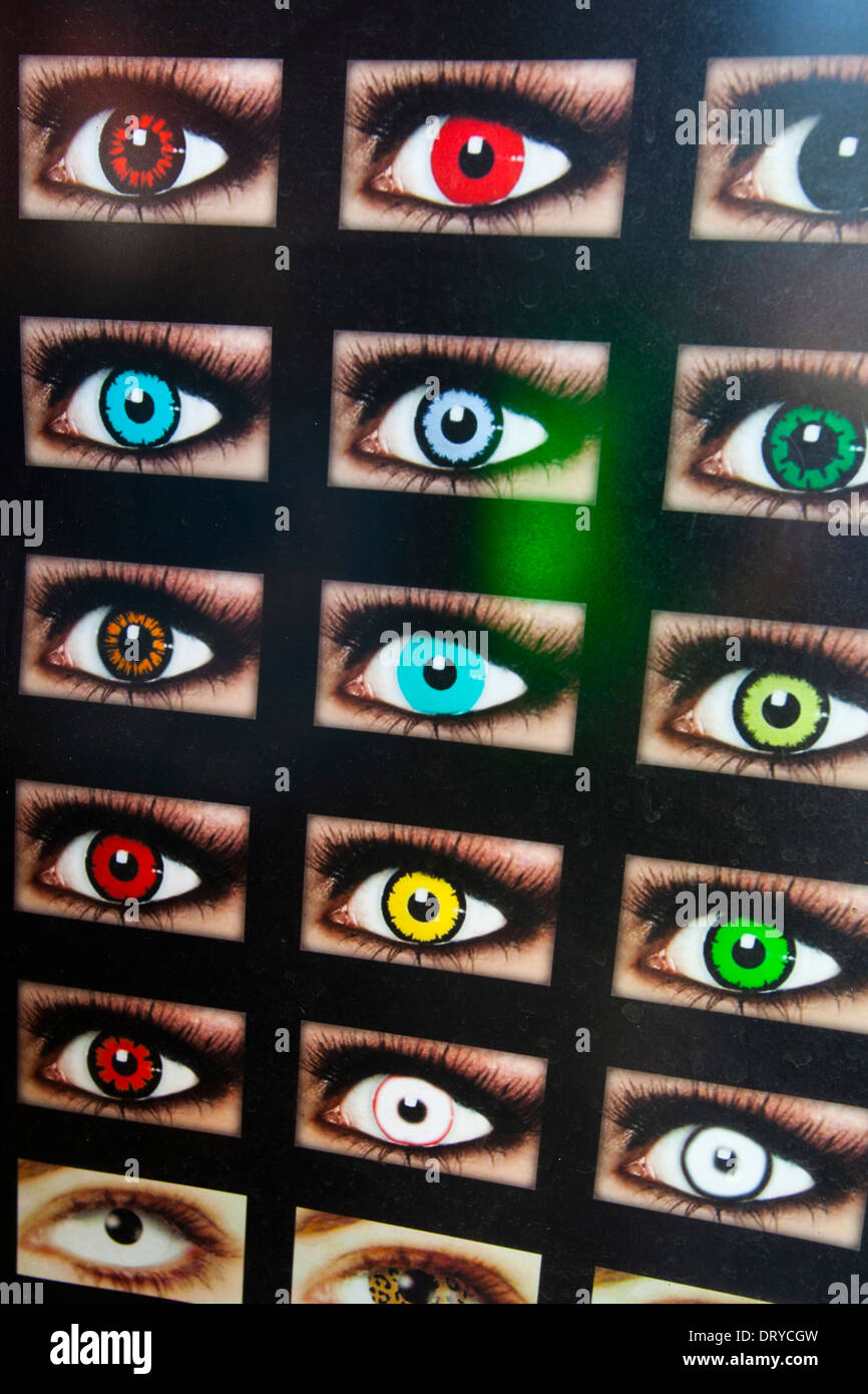 d0bfbab7 Ad showing eyes with colored contact lenses, Hollywood Blvd., Hollywood,  Los Angeles