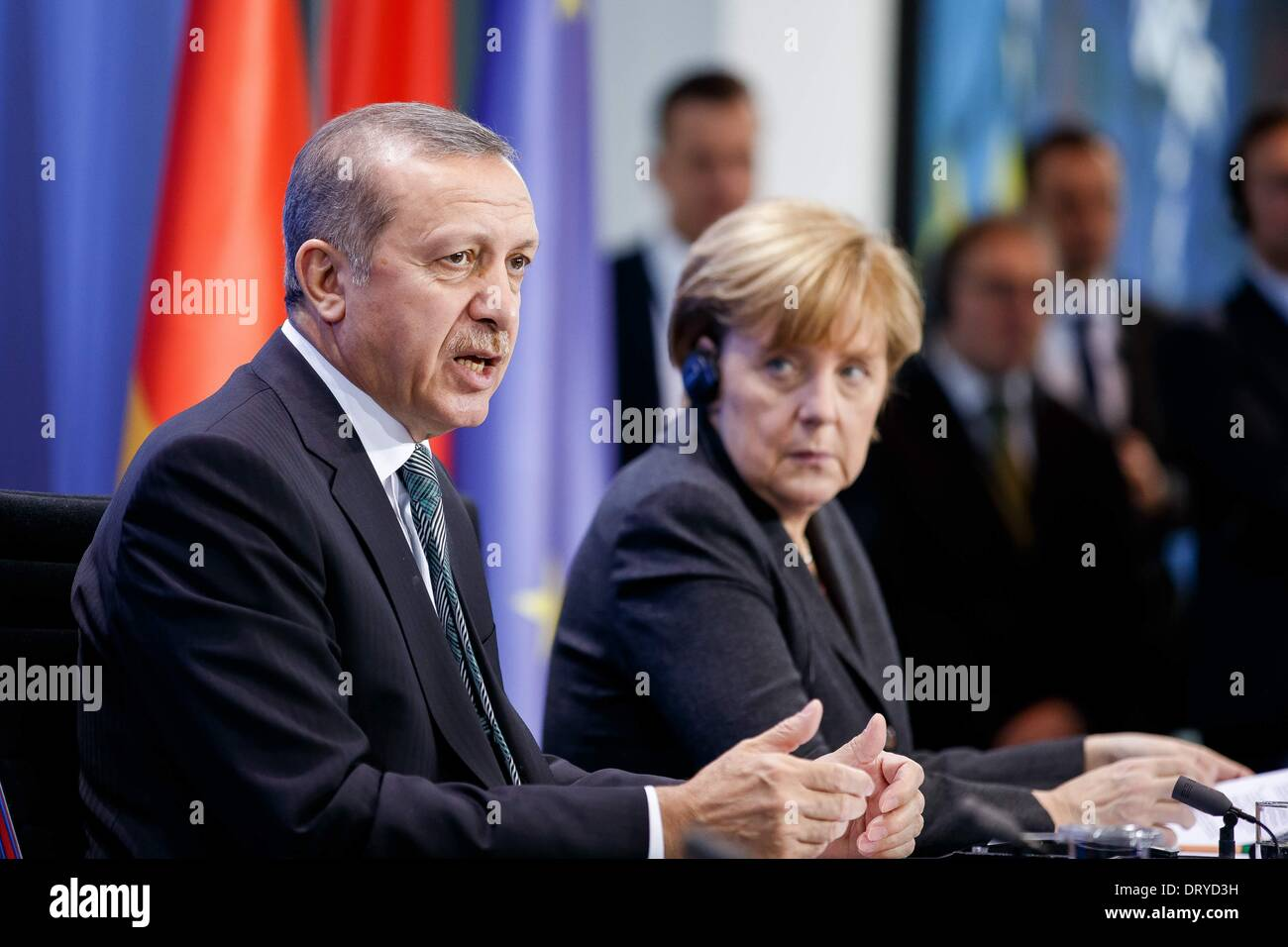 Berlin, Germany. Februar 04th, 2014. German Chancellor Angela Merkel welcomes the Turkish Prime Minister Recep Tayyip Erdogan to exchange views at the Federal Chancellery. The focus of the common conversation is the bilateral relations and current international issues, like Syria. After the meeting, they give a joint press conference at the Chancellery in Berlin. 4th Feb, 2014. / Picture: Türkischer Ministerpräsident Recep Erdogan and Angela Merkel (CDU), German Chancellor. © Reynaldo Paganelli/NurPhoto/ZUMAPRESS.com/Alamy Live News - Stock Image