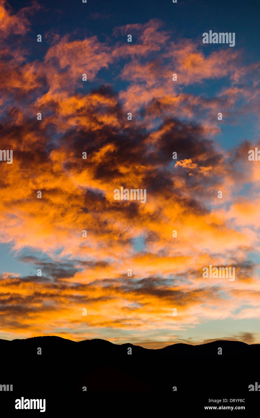 Dramatic pink and orange clouds at sunset, Salida, Colorado, USA - Stock Image