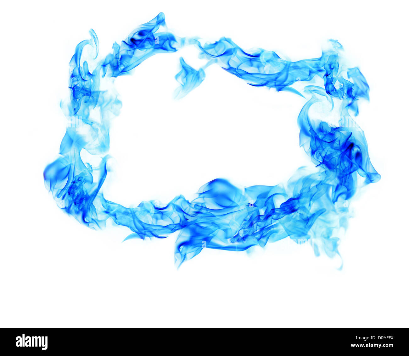 blue fire smoke frame on white background stock photo