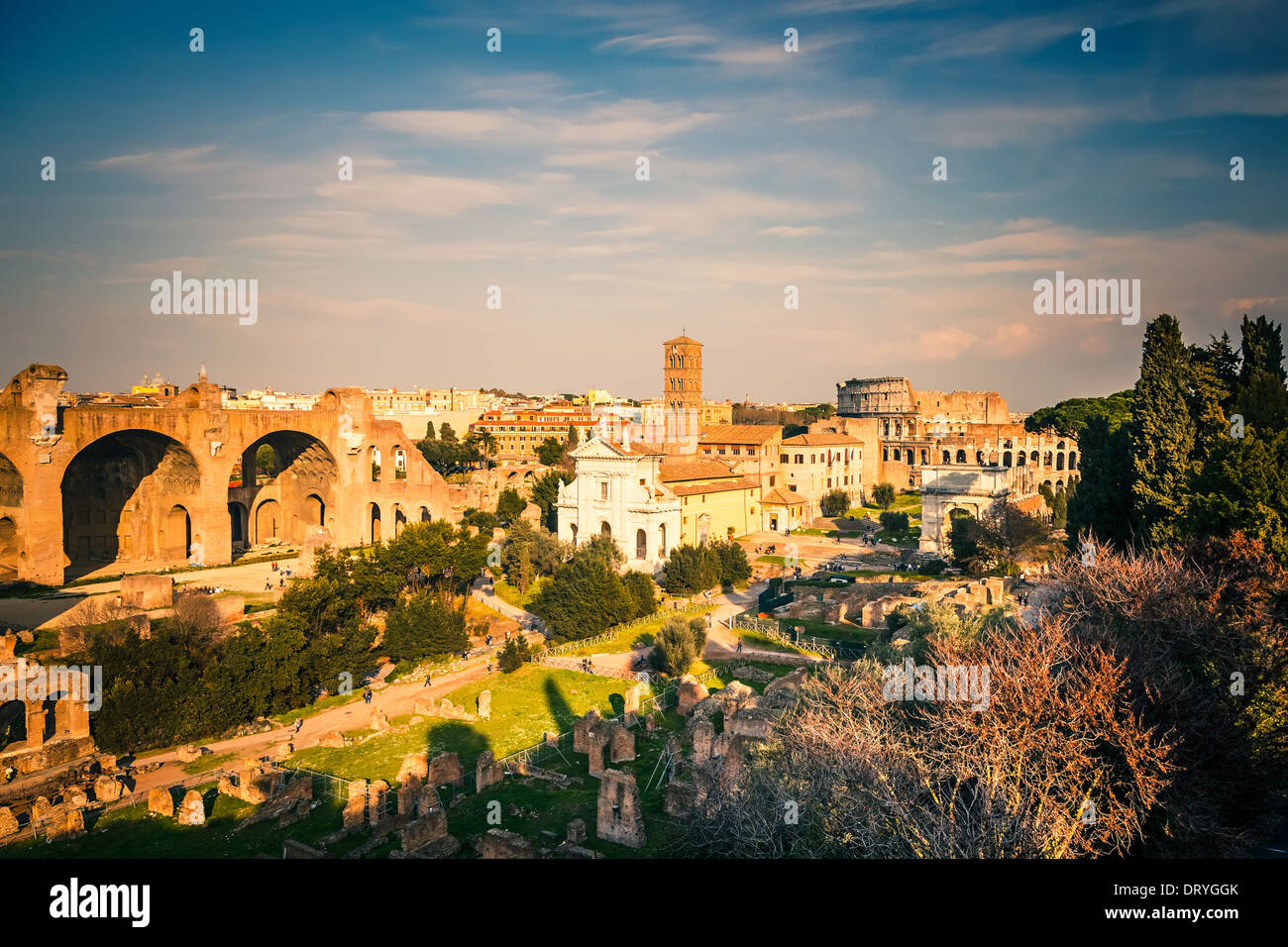 Forum and Coliseum in Rome - Stock Image