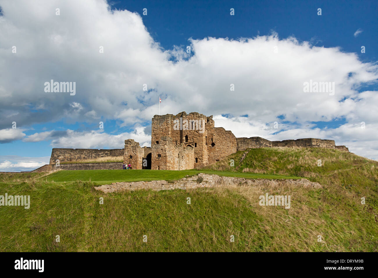 The front of Tynemouth Castle and priory located on the North bank of the river Tyne near Newcastle - Stock Image