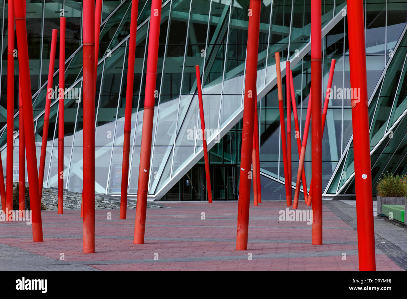 The Martha Schwarz installation in Grand Canal Square by the Grand Canal Theatre in Dublin, Ireland - Stock Image