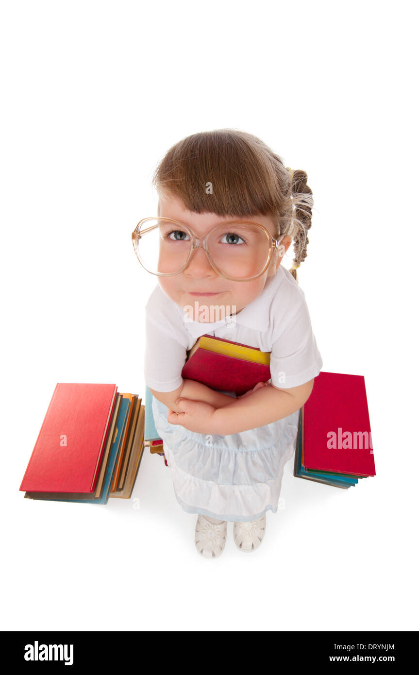 Funny little girl with book - Stock Image