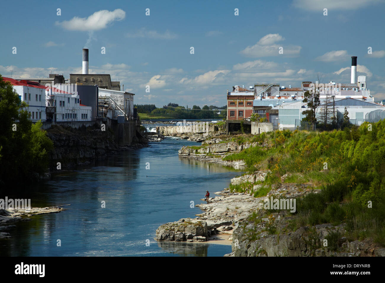 Factories by Mataura River, Mataura, Southland, South Island, New Zealand - Stock Image
