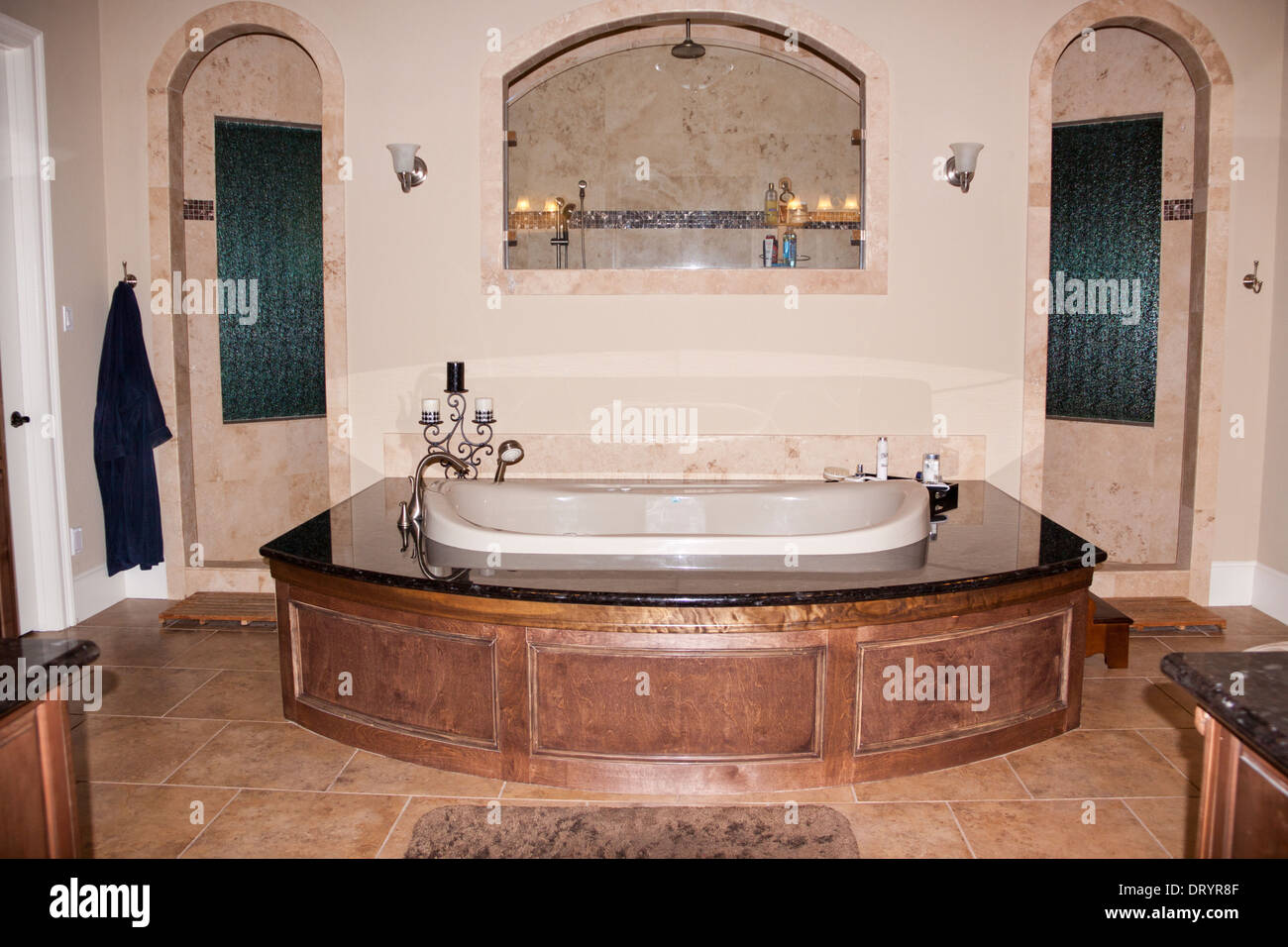 Jacuzzi Bathtub In Front Of Walk Through Shower In Luxury Custom Home