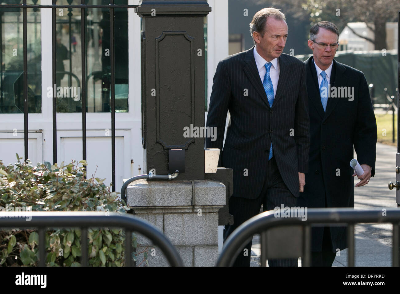 James Gorman, CEO, Morgan Stanley, left, and Richard Davis, Chairman, US Bancorp, right. - Stock Image