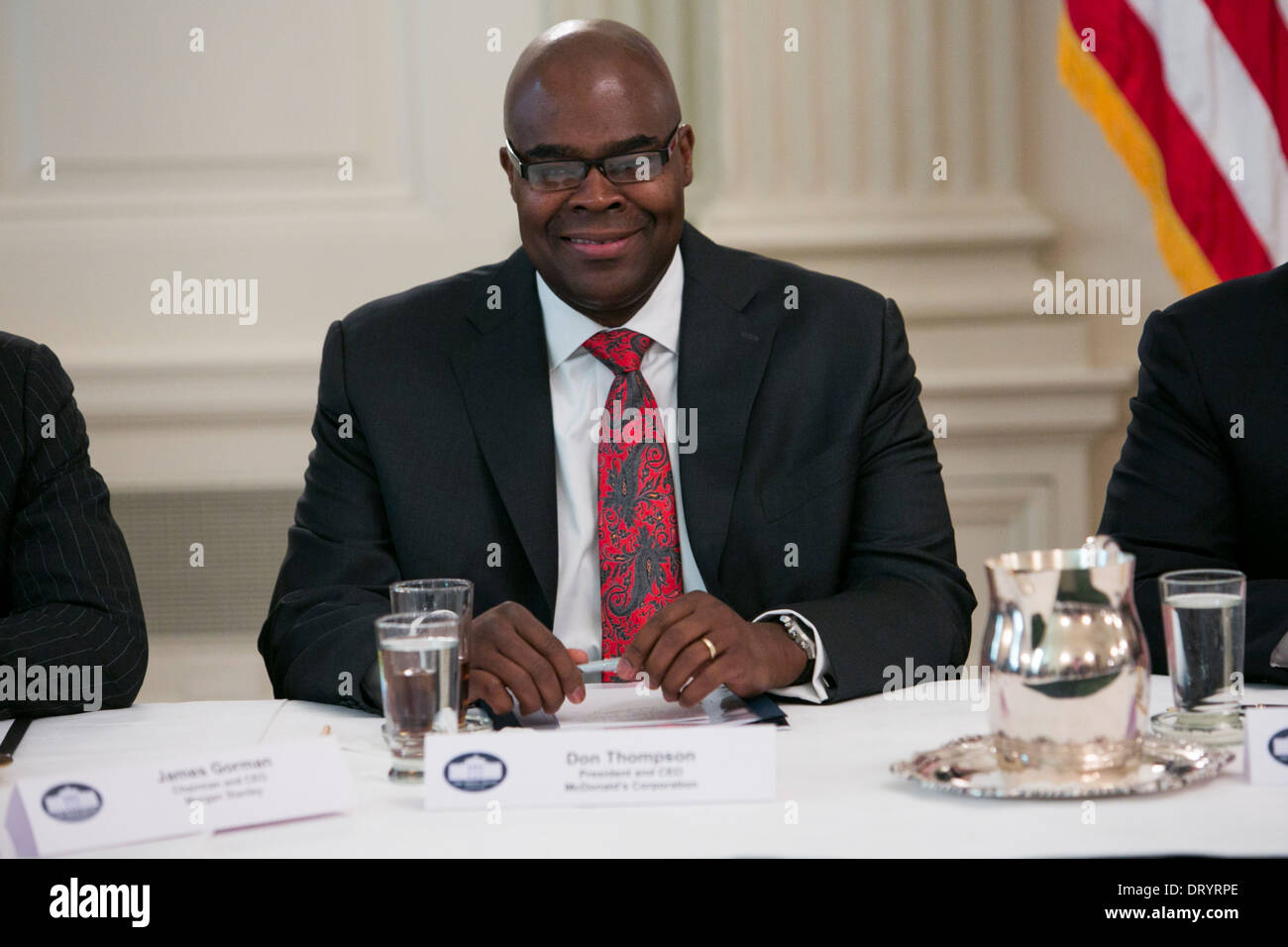 Don Thompson, President and CEO of McDonalds attends a meeting with other CEO's with President Barack Obama at the White House.  - Stock Image