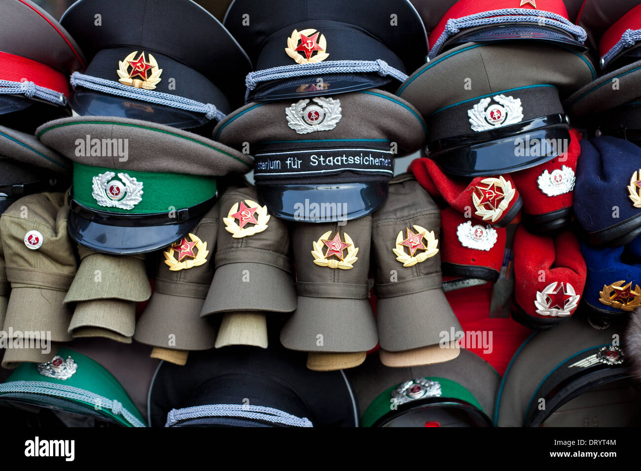 Hats offered at souvenir shop - Stock Image