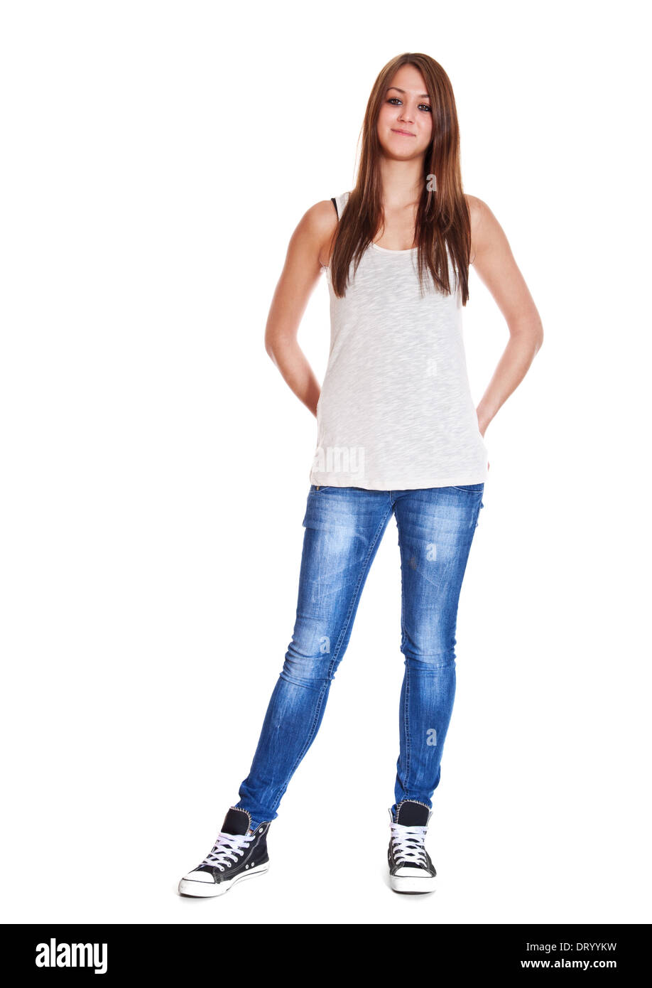 Full length shot of an attractive young woman. All on white background. - Stock Image