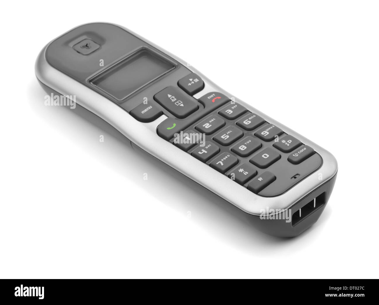 Digital cordless dect phone isolated on white - Stock Image