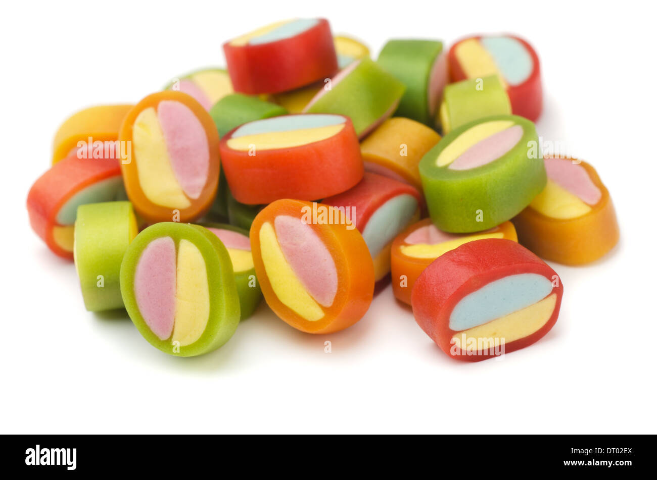Pile of colorful gummy candies isolated on white Stock Photo