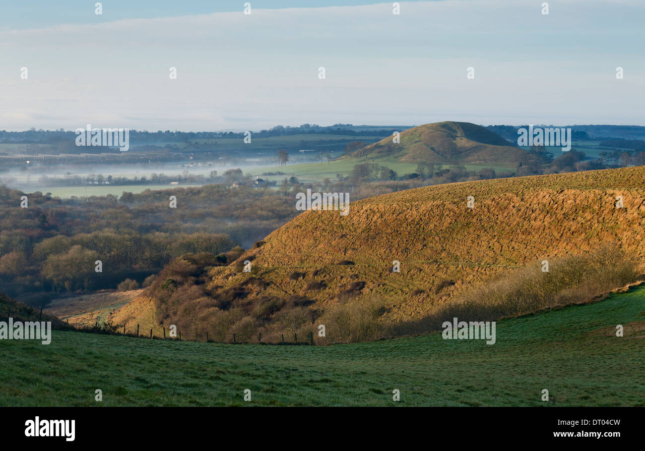 The view from the North Downs escarpment with Summerhouse hill on the right, with Folkestone Eurotunnel on the left. Kent, UK. - Stock Image