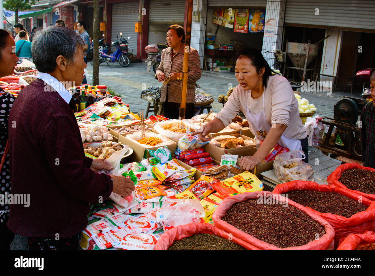China, Xian, outdoor food street market - Stock Image
