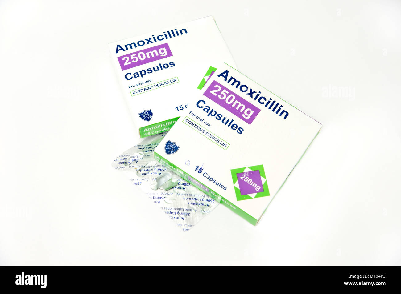 Boxes of Amoxicillin capsules antibiotics with penicillin to treat a wide range of infections - Stock Image