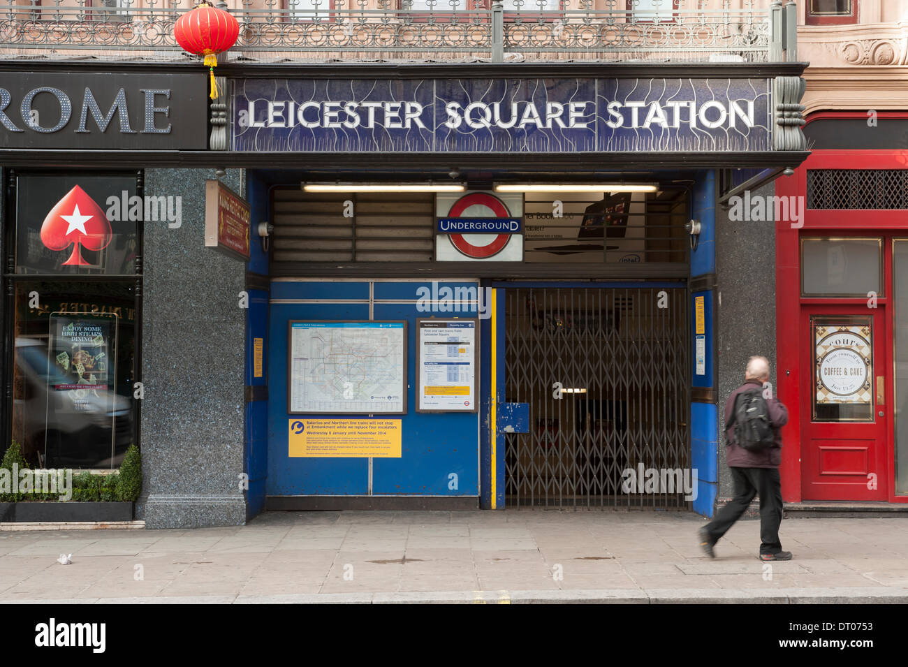 London, UK. 5th Feb, 2014. Leicester Square station is closed during the strike on the tube network. Northern Line underground trains are running during the strike but not stopping at many stations Credit:  Malcolm Park editorial/Alamy Live News - Stock Image