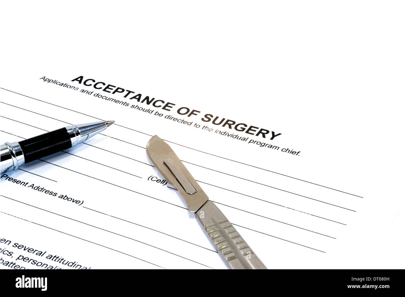 acceptance of surgery form hospital law pen Isolated on white - Stock Image
