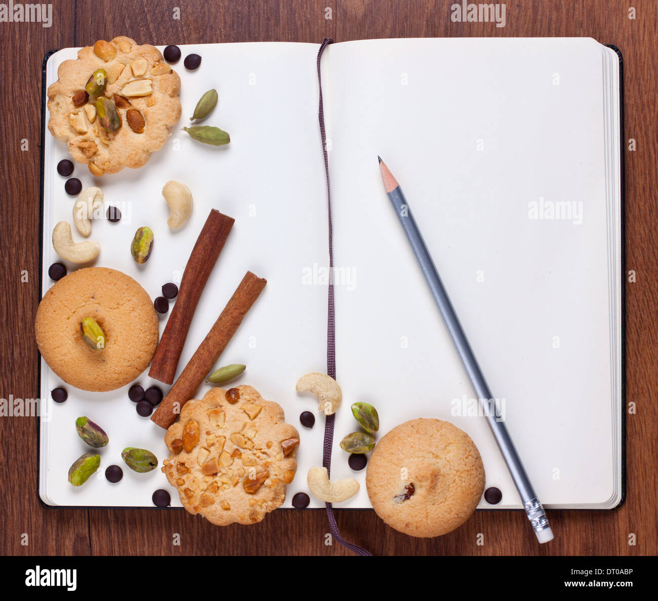 Recipe notebook stock photos recipe notebook stock images alamy assorted cookies on blank notebook shot from above stock image forumfinder Image collections