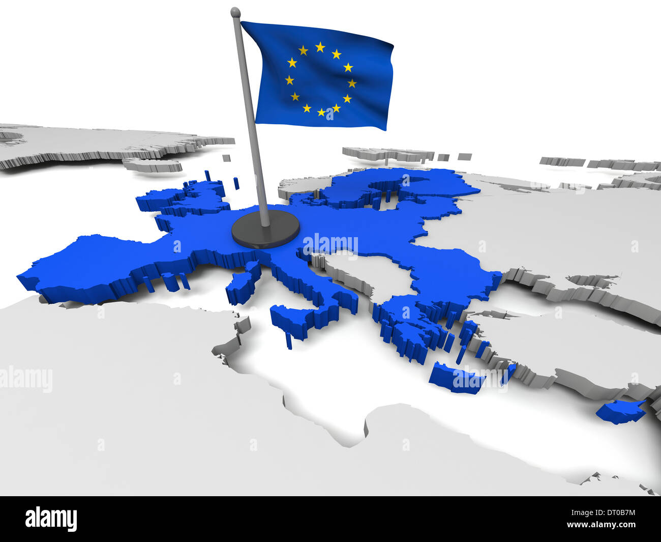 3D map of European Union with flag and EU countries highlighted in blue. Elements of this image furnished by NASA - Stock Image