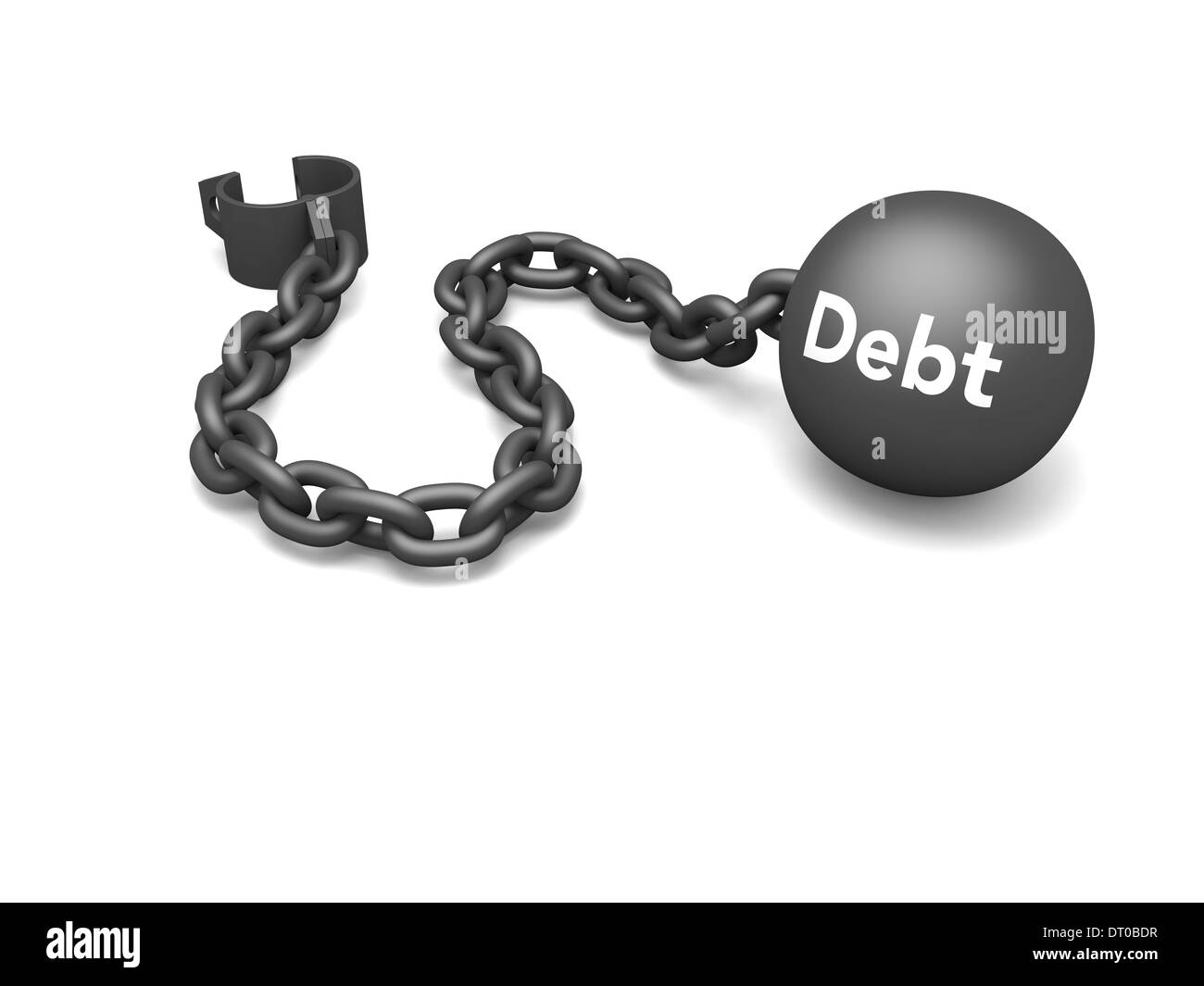 Prisoner shackle with word 'debt' on the iron ball, concept of escaping debt and dependency on credit. Isolated on white background. - Stock Image