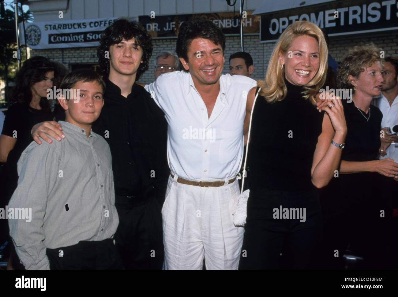 ADRIAN ZMED With Wife Susan Woods And SonsWrongfully Accused Premiere In Los Angeles 1998