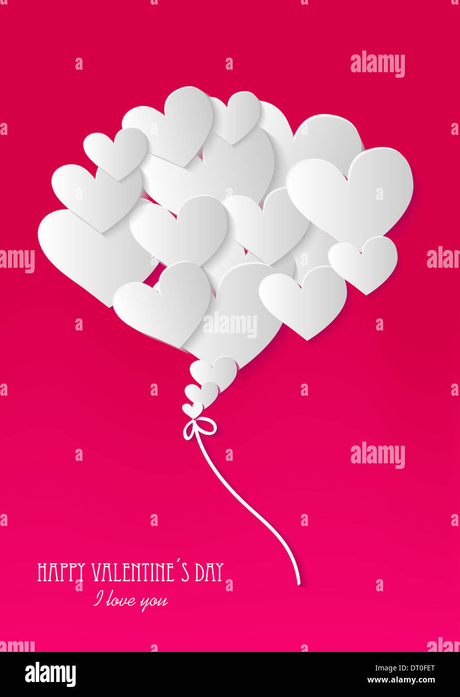 Scrap booking Valentines day heart love element background. EPS10 vector file organized in layers for easy editing. - Stock Image