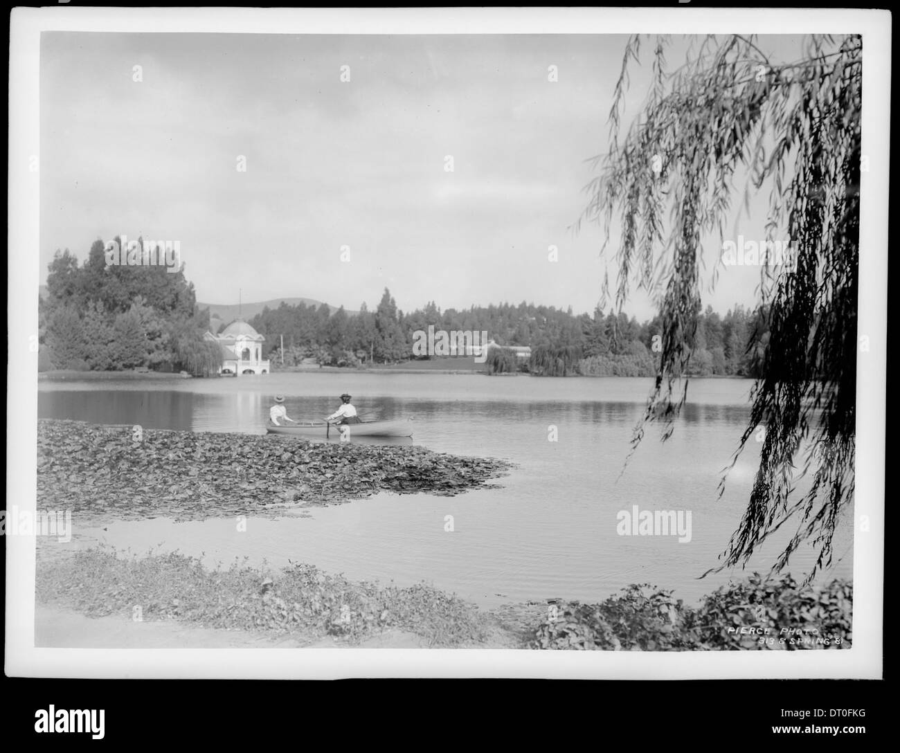 Eastlake Park, showing large lake, ca.1900 - Stock Image