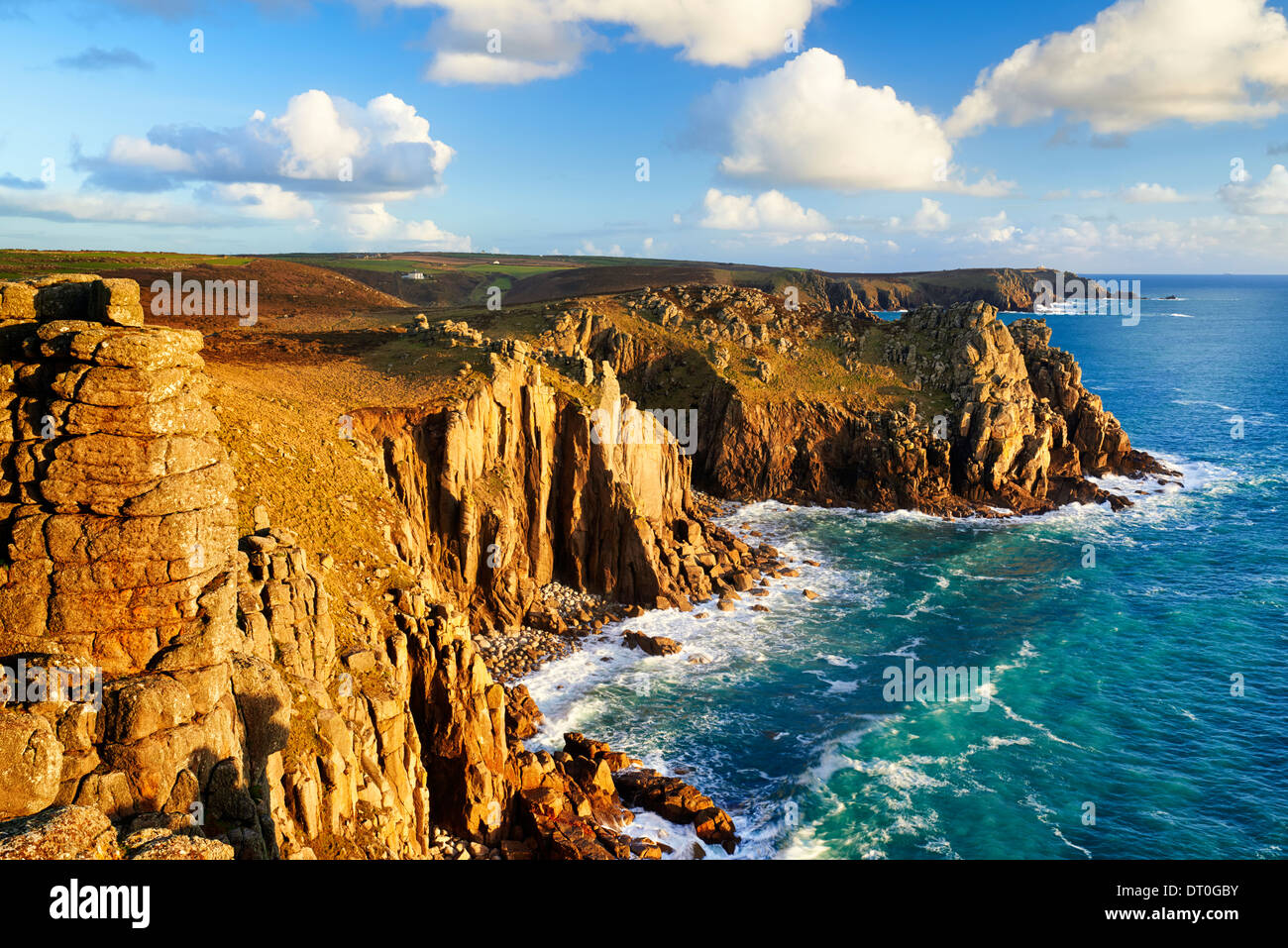View overlooking Zawn Trevilley and Carn Boel, Land's End - Stock Image