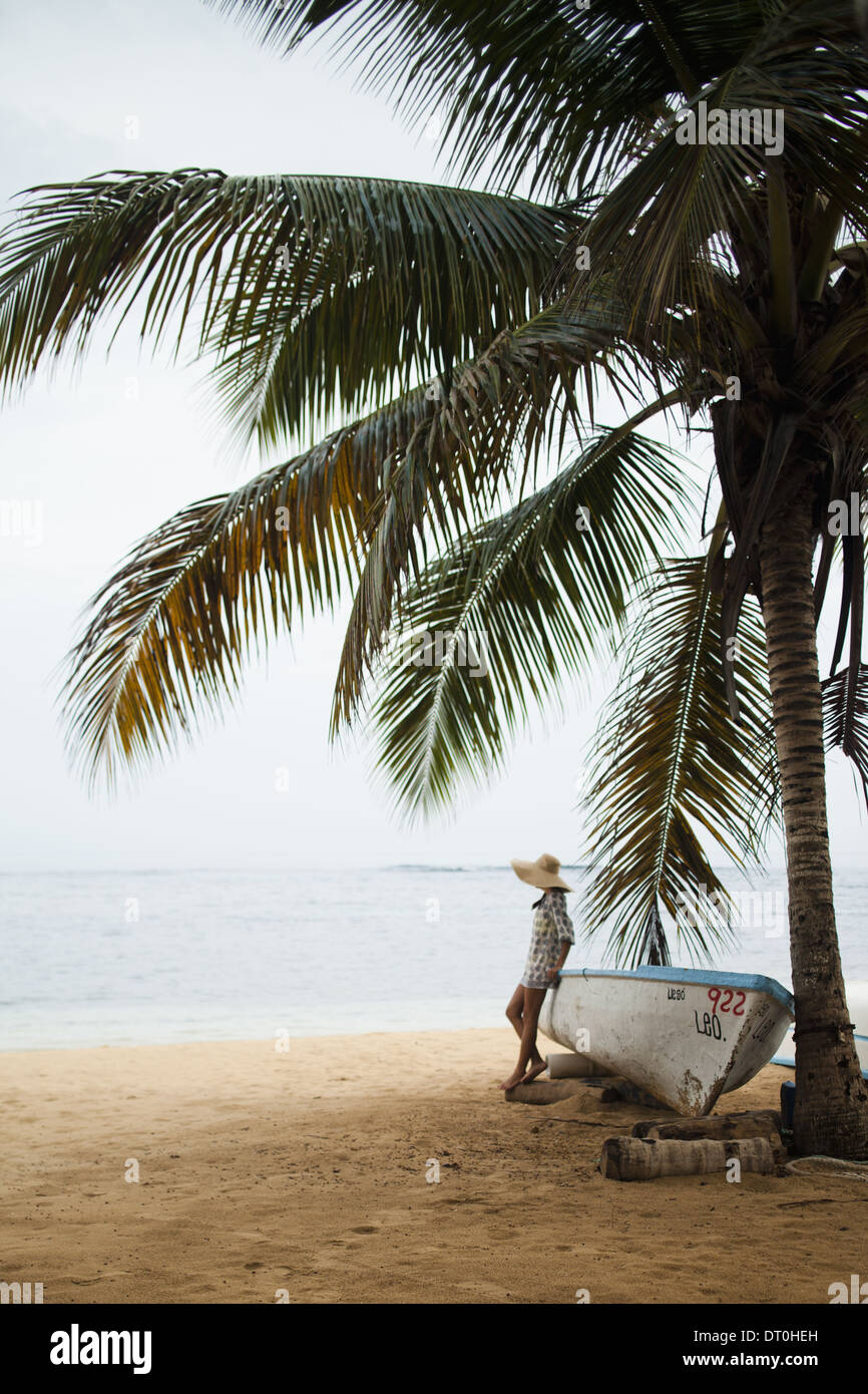 Samana Peninsula Dominican Republic. Young woman on secluded beach Dominican Republic - Stock Image