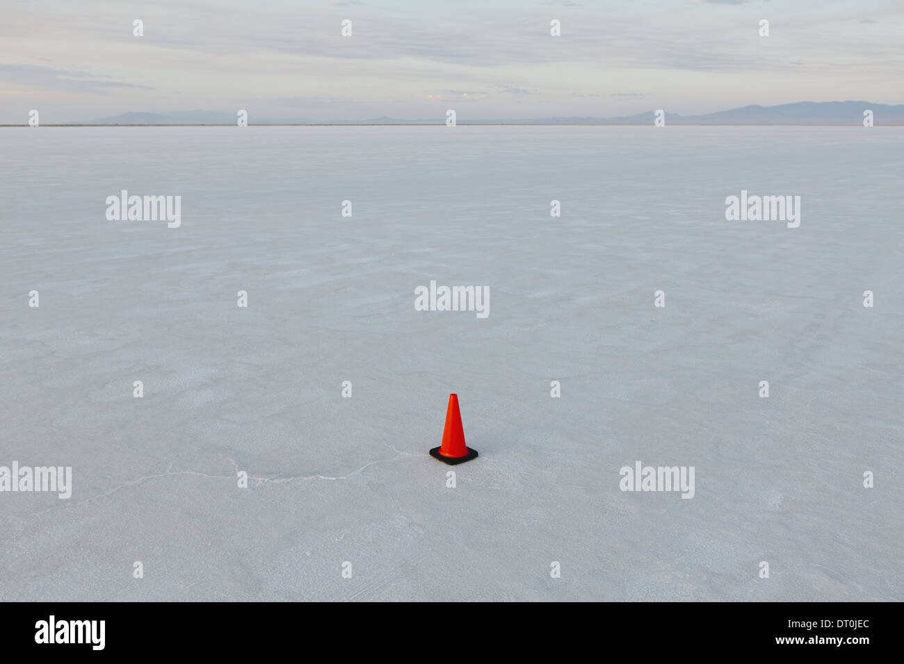 Bonneville Salt Flats Utah USA single traffic cone salt flats marker for vehicles - Stock Image
